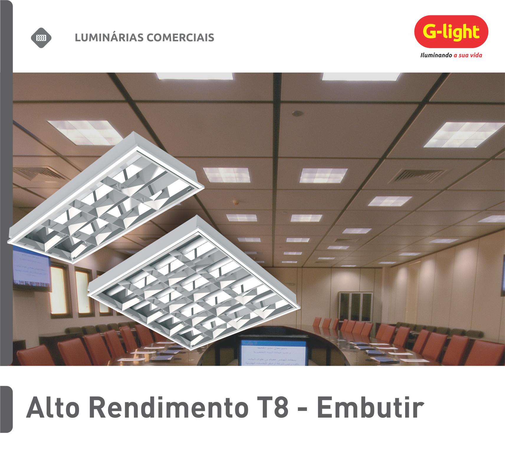 Luminária de Alto Rendimento T8 - Embutir