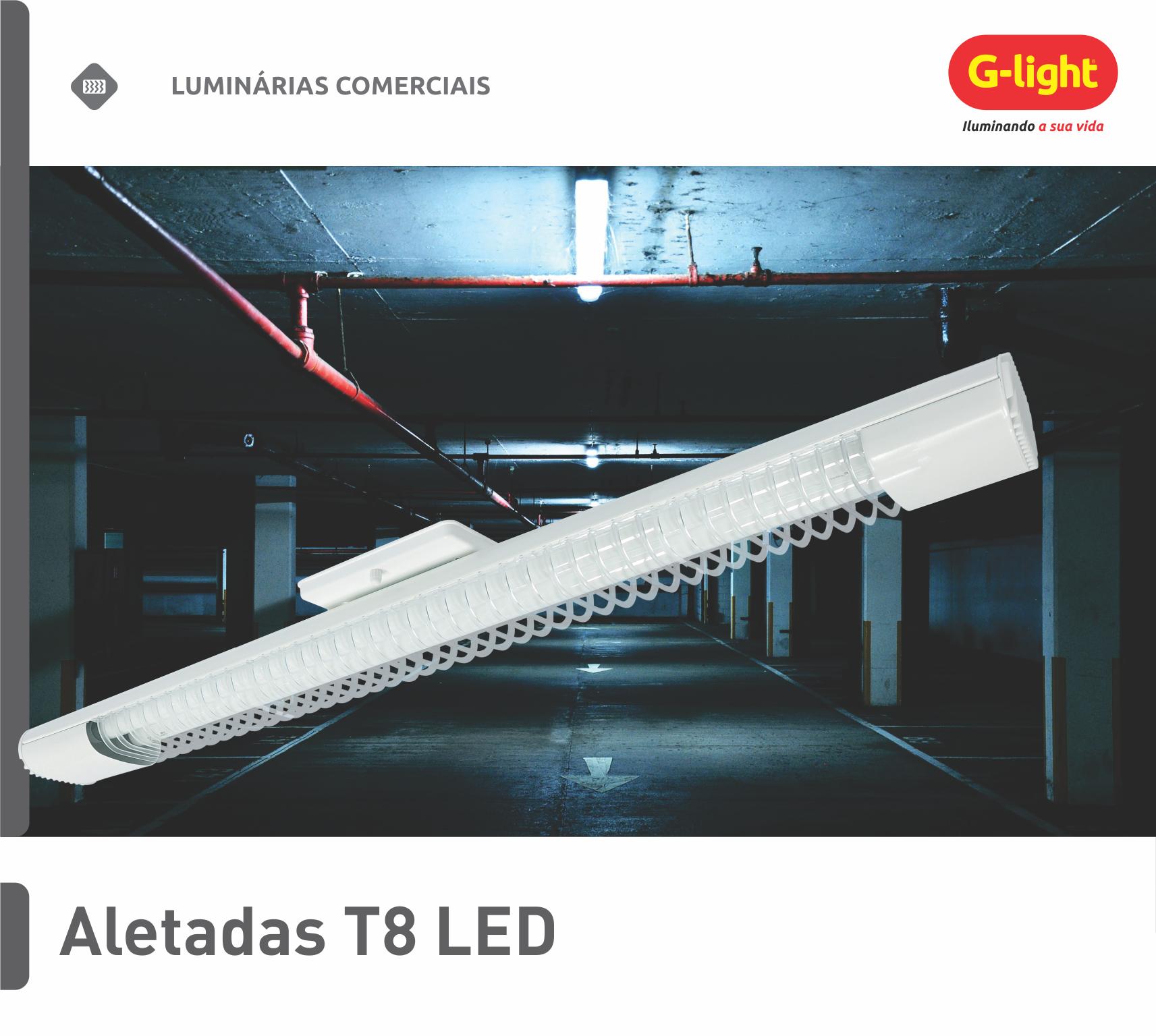 Luminárias Aletadas LED T8