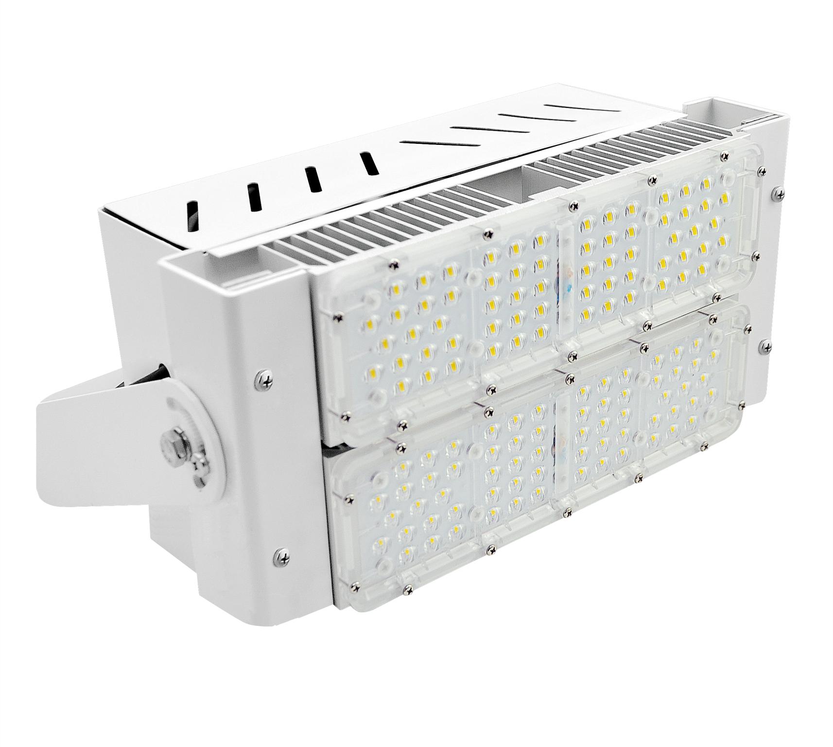 REFLETOR LED 100W MODULO DC COM DPS 2X50W 90° 5000K 150LM/W ALUMINIO AUTOVOLT BRANCA
